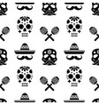 seamless pattern with skulls sombreros and vector image vector image
