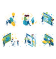 set isometric concepts on topic training vector image vector image