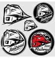 set of emblems in retro style with locomotives vector image vector image