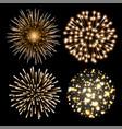 set of golden fireworks vector image vector image