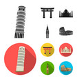 sights of different countries black flat icons in vector image vector image