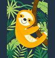 sloth on branch among tropical plants vector image vector image