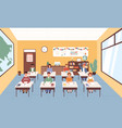 smiling pupils sitting at desks in classroom vector image vector image
