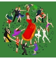 Spanish girl flamenco dancer in red dress spanish vector image