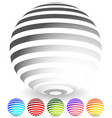 striped spheres in 6 colors vector image vector image