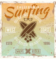 surfing school colored vintage vector image vector image