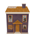two-storey purple house with destroyed roof and vector image vector image