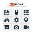 user icons set with plug location apps and other vector image vector image