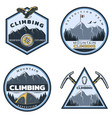 vintage colored mountain climbing emblems set vector image vector image
