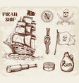 vintage pirate ship vector image