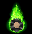 Vinyl disc in green fire vector image