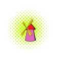 Windmill icon in comics style vector image vector image
