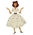 woman in polkadot dress 1950s fashion style vector image vector image
