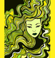 young woman with green yellow black hair vector image