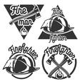 Vintage fireman emblems vector image