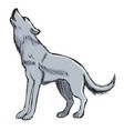 wolf howling to moon vector image