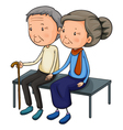 An old couple dating vector image