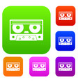 audio cassette tape set color collection vector image vector image