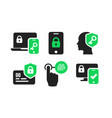 authentication icons set 02 vector image vector image