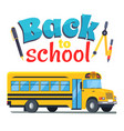 back to school sticker with bus isolated on white vector image vector image