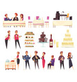 banquet cartoon icons set vector image vector image