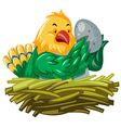 Bird hatching egg in the nest vector image vector image
