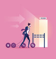 businessman dragging chains and big balldebt vector image