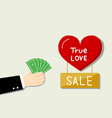businessman want to buy love by his money vector image vector image
