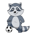 Cartoon raccoon player with soccer ball vector image