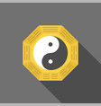 chinese yin yang symbol with long shadow vector image vector image