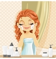 Cute brunette girl washes facial wash in the vector image vector image