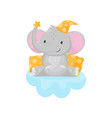 cute little elephant sitting on a cloud lovely vector image