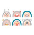 cute rainbow characters vector image vector image