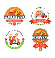 delivery pizza badge vector image vector image