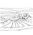 Farm hills drawing landscape sketch field and