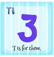Flashcard of T is for three vector image vector image