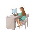 flat girl using pc sitting at desktop vector image