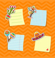 flat mexico attributes stickers set vector image