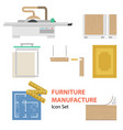 furniture manufacture flat set vector image vector image