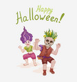 halloween with two kids in fancy vector image
