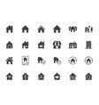 home flat icons set house residential building vector image vector image