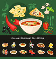 italian food icons collection vector image
