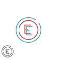 Letter E logo monogram combination EE circle vector image vector image