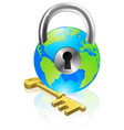 lock and key globe vector image vector image
