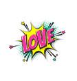 love pop art comic book text speech bubble vector image vector image