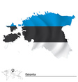 Map of Estonia with flag vector image vector image