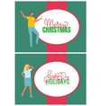merry christmas card man and woman frame people vector image vector image