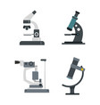microscope icon set flat style vector image vector image