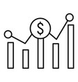 money graph icon outline style vector image vector image