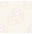 Outline seamless pattern with hand drawn cake vector image vector image